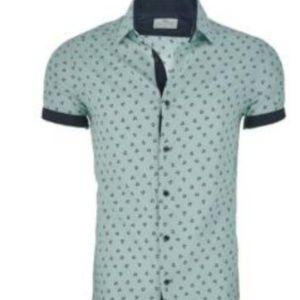 Suslo Couture Men's Short Sleeve Button Down Shirt